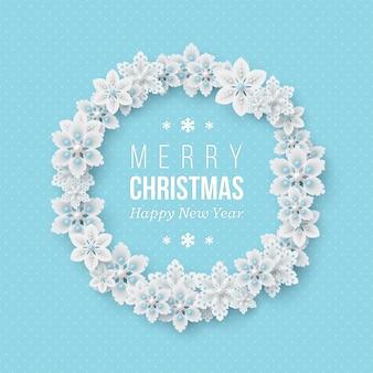 Boże narodzenie wieniec świąteczny. 3d dekoracyjne płatki śniegu z cieniem i perłami. niebieskie tło kropkowane z tekstem powitania. ilustracja wektorowa.