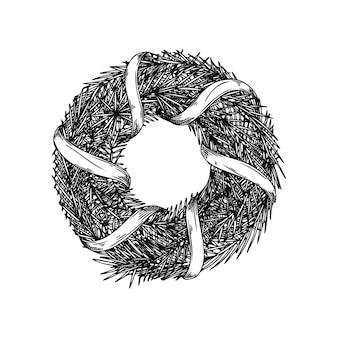 Boże narodzenie wieniec z gałęzi na białym tle. szkic, ilustracja ręcznie rysowane