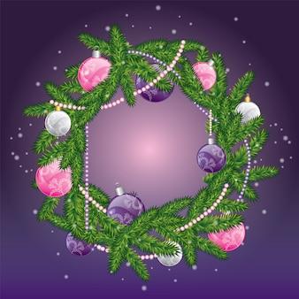 Boże narodzenie wieniec z kulkami. nowy rok i boże narodzenie.