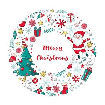 Boże narodzenie wieniec z mikołajem, choinką i tradycyjnymi zimowymi wakacjami.