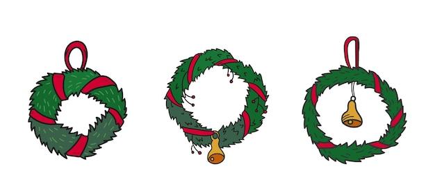 Boże narodzenie wieniec ze wstążką i dzwonkiem, zimowe wakacje ozdoba, ilustracji wektorowych, ręcznie rysowane na białym tle zestaw