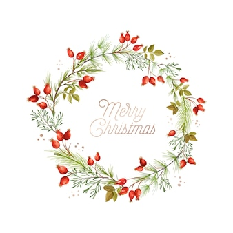Boże narodzenie wieniec, zielone gałęzie sosny, czerwone jagody dzikiej róży. zima xmas wakacje projekt szablonu karty z pozdrowieniami. wektor ilustracja projekt banera, ulotki, okładki. ilustracja wektorowa kwiatowy