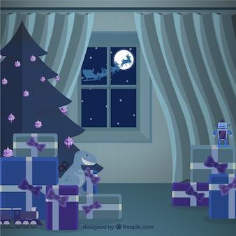 Boże narodzenie wnętrze domu z santa claus prezenty