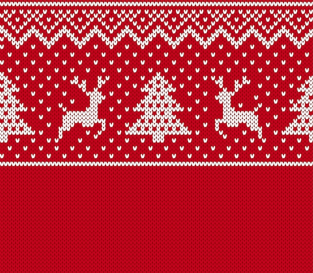 Boże narodzenie wzór. dzianinowy nadruk z jeleniem, drzewem. tło czerwony sweter. świąteczna tekstura boże narodzenie