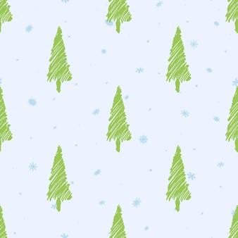 Boże narodzenie wzór. jasnozielona choinka. niebieskie płatki śniegu. jasne tło. minimalizm. projekt nowego roku. ręcznie rysowane. ilustracja wektorowa.