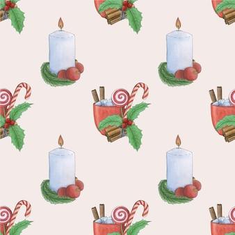 Boże narodzenie wzór. malowane akwarelami, szczęśliwego nowego roku i wesołych świąt.
