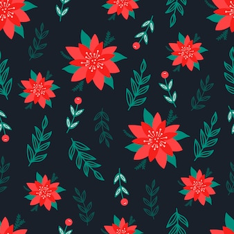 Boże narodzenie wzór na czarnym tle z poinsettia kwiaty, gałęzie sosnowe i jagody. tło