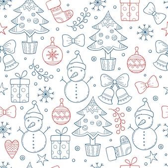 Boże narodzenie wzór. sezon zimowy graficzne płatki śniegu ubrania prezenty gwiazdy świece drzewa bałwan rękawiczki bezszwowe tło. bezszwowe powtórzenie bożego narodzenia, skarpetki i szkicowa ilustracja bałwana