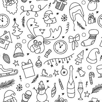 Boże narodzenie wzór w stylu bazgroły z uroczystymi elementami dekoracyjnymi i symbolami.