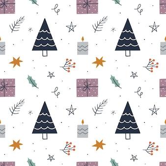 Boże narodzenie wzór z drzewa, prezenty, gwiazdy, świeca. tło dla papieru do pakowania, kart okolicznościowych, ubrań.