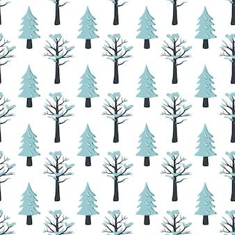 Boże narodzenie wzór z jodły i drzewa na śniegu