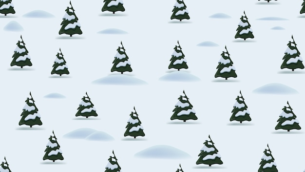Boże narodzenie wzór z kreskówka zimowy krajobraz, sosny i zaspy