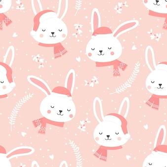 Boże narodzenie wzór z króliczkiem w tle