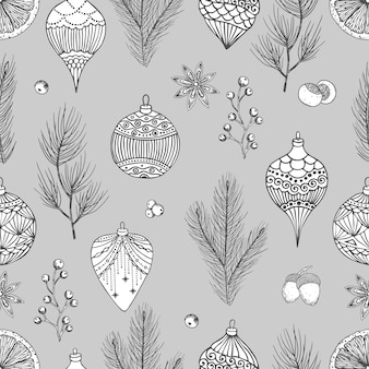 Boże narodzenie wzór z ozdób choinkowych, gałęzie sosny ręcznie rysowane ilustracja wektorowa sztuki projektowania.