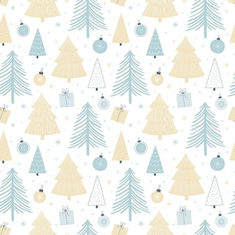 Boże narodzenie wzór z różnych drzew, bombki i prezenty. paleta pastelowa. bezszwowe tło w stylu skandynawskim do pakowania papieru, tkaniny itp ...