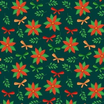 Boże narodzenie wzór z świąteczne kwiaty i kokardki