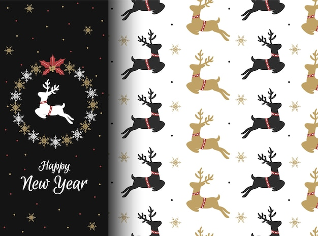 Boże narodzenie wzór z wspaniałe jelenie i płatki śniegu. zimowe tapety do projektowania. ilustracja.