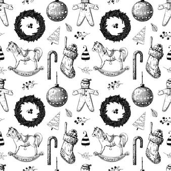 Boże narodzenie wzór. zabawki, bałwanek, wieniec i inne elementy świąteczne. naszkicować