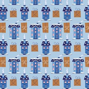 Boże narodzenie wzór zimowe domy z prezentami. boże narodzenie niebieskie tło do pakowania prezentów. nowoczesne płaskie wektor bezszwowe ilustracja