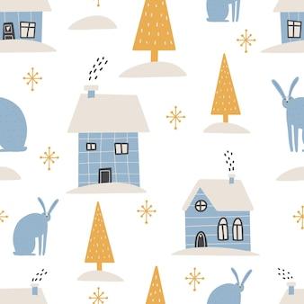Boże narodzenie wzór zimowy las skandynawski ręcznie rysowane wzór nowy rok boże narodzenie