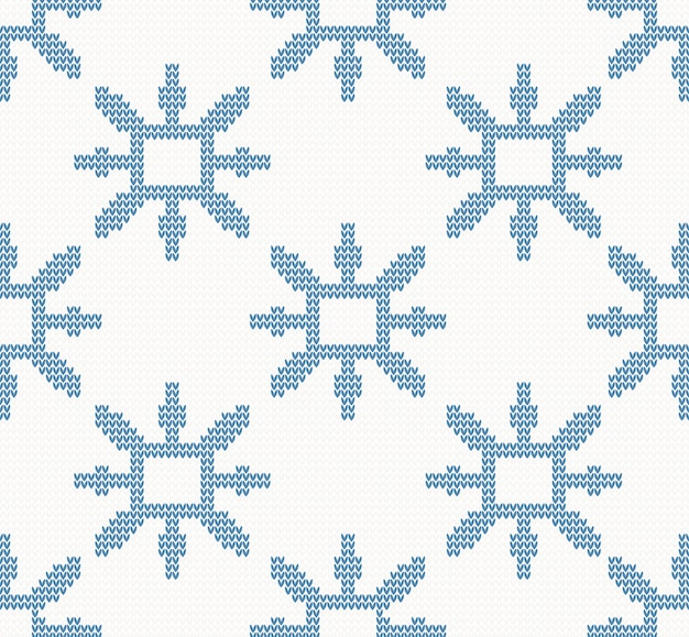 Boże narodzenie z dzianiny wzór z niebieskie płatki śniegu