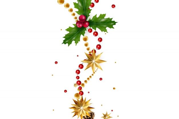 Boże narodzenie z kompozycją elementów świątecznych, takich jak złota gwiazda, jagody, ozdoby choinkowe, gałęzie sosnowe. szykowna kartka świąteczna. wesołych świąt i szczęśliwego nowego roku.