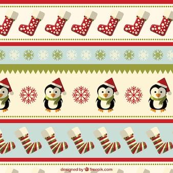 Boże narodzenie z penguings i skarpetki