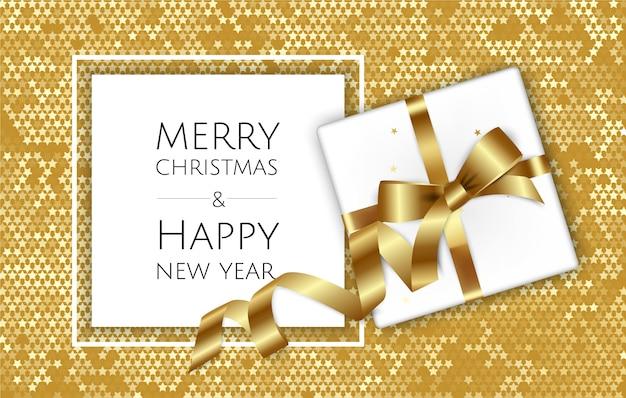 Boże narodzenie z pudełkiem i wstążkami, świąteczną kartką z życzeniami lub szablonem plakatu,