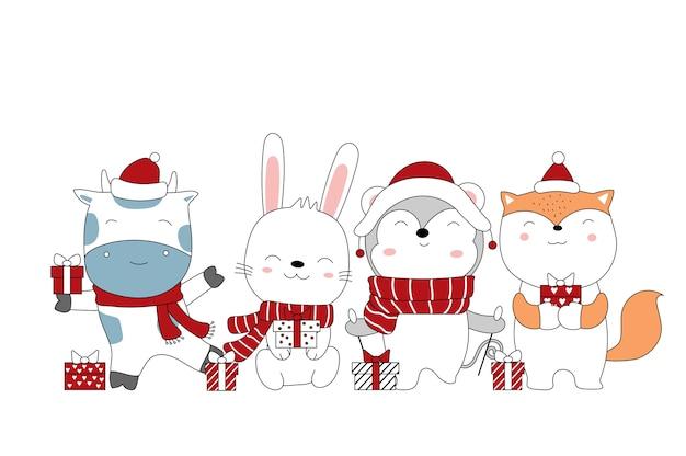 Boże narodzenie z uroczą kreskówką zwierząt i pudełkiem na prezent ręcznie rysowane stylu cartoon