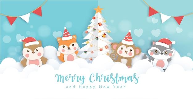 Boże narodzenie z uroczymi zwierzętami w śnieżnej wiosce wycięte z papieru i styl rękodzieła.