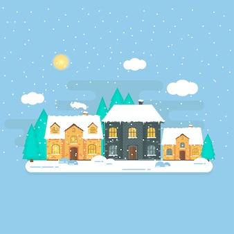 Boże narodzenie z zimowym domem, domem, lasem i białymi musującymi płatkami śniegu