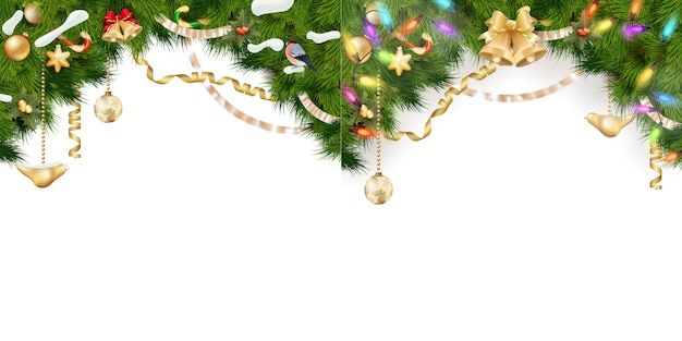 Boże narodzenie zestaw granicy - gałęzie drzewa ze złotymi bombkami, gwiazdy, płatki śniegu na białym tle.