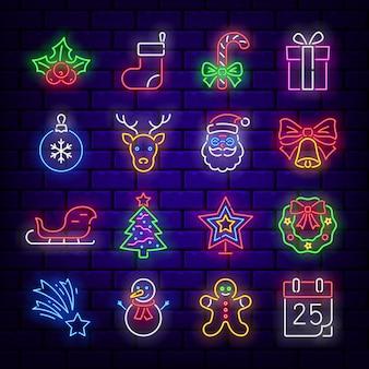 Boże narodzenie zestaw ikon neonowych.