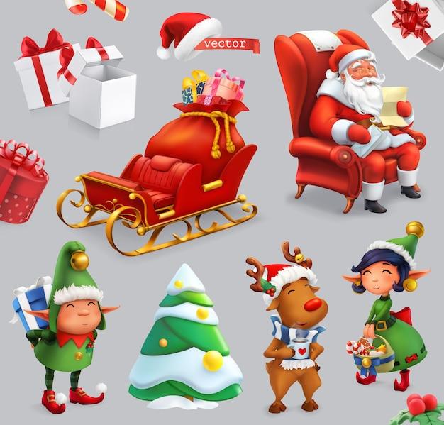 Boże narodzenie zestaw ilustracji. święty mikołaj, sanie, prezenty, jeleń, elfy, choinka.