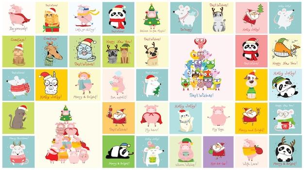 Boże narodzenie zestaw różnych mikołajów, zwierząt i bożego narodzenia symbol roku szczur, prezenty i inne w stylu kreskówki