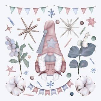 Boże narodzenie zestaw z gnome i dekoracje świąteczne