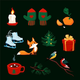 Boże narodzenie zestaw z postaciami z kreskówek nowego roku. kolorowy zbiór elementów xmas dla projektowania kart okolicznościowych. zwierzęta leśne, rękawiczki, obiekty ferii zimowych w stylu retro. ilustracja