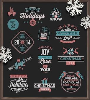 Boże narodzenie zestaw znaków świątecznych, herby i pozdrowienia.