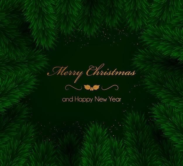 Boże narodzenie zielone tło z gałęzi choinki ilustracja wektora. zimowe tło. do projektowania ulotki, banera, plakatu, zaproszenia.