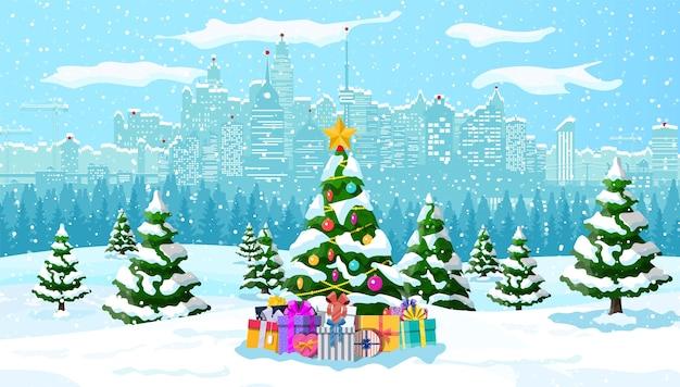 Boże narodzenie zima gród, płatki śniegu i drzewa. aleja śnieżna w parku miejskim i budynki. wesołych świąt bożego narodzenia