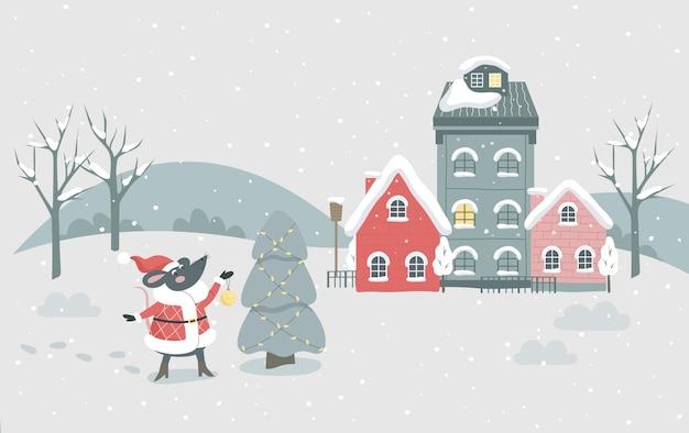 Boże narodzenie zima ilustracja miasto. świąteczny charakter i świąteczna dekoracja. choinka z tradycyjną dekoracją, światełkami i świątecznym szczurem symbol 2020. ozdoba świąteczna