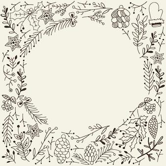 Boże narodzenie zima kwiatowy szkic szablon z gałązkami drzewnymi szyszki rękawiczki i gwiazdy na szarym ilustracji