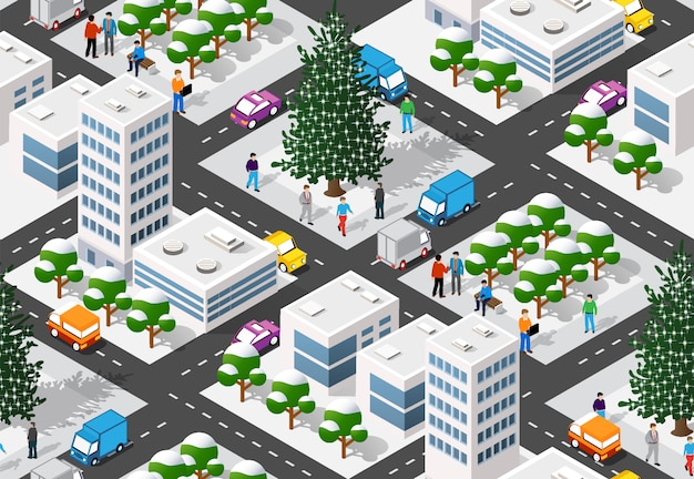 Boże narodzenie zima miasto graficzne wakacje