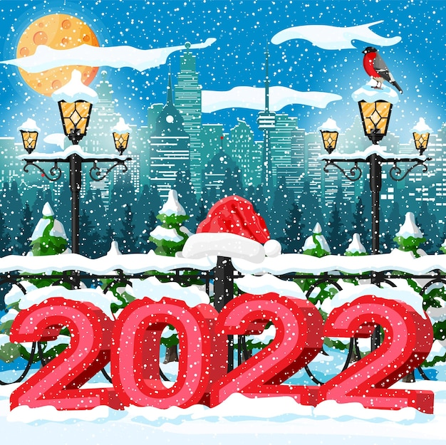 Boże narodzenie zima pejzaż, płatki śniegu i drzewa. śnieżna aleja i budynki w parku miejskim. szczęśliwego nowego roku dekoracja. wesołych świąt bożego narodzenia. obchody nowego roku i bożego narodzenia. ilustracja wektorowa płaski styl