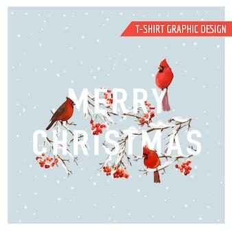 Boże narodzenie zima ptaki i jagody projekt graficzny