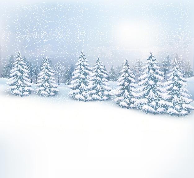 Boże narodzenie zimowy krajobraz tło.