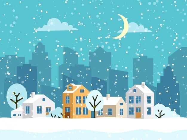 Boże narodzenie zimowy krajobraz z małymi domami