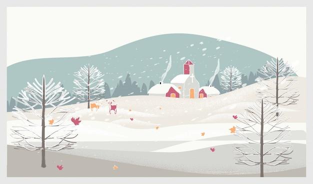 Boże narodzenie zimowy krajobraz