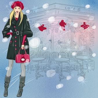 Boże narodzenie zimowy szkic pięknej modnej dziewczyny w pobliżu paryskiej kawiarni z dekoracjami świątecznymi