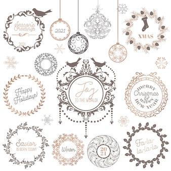 Boże narodzenie zimowy wieniec, vintage elementy projektu kaligrafii i ozdoba strony nowy rok, wiruje ramki na zaproszenie, ozdoba, notatnik, pozdrowienia świąteczne xmas card. zestaw ilustracji wektorowych